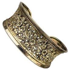 Vintage Sterling Silver Pierced Cuff Bracelet Ornate Curvy