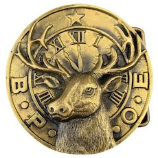 Vintage 1970s B.P.O.E. Solid Brass Belt Buckle ELKS