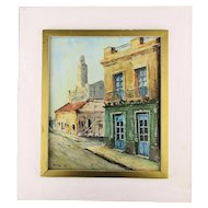 Charming Oil Painting Ciudad Vieja (Old Town) Uruguay Signed Molina