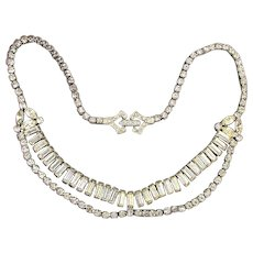 1950s D'ERI Sterling Silver Crystal Rhinestone Necklace