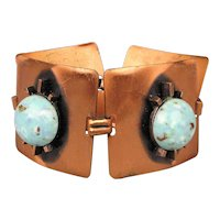 Wide Bold Solid Copper Link Bracelet w/ Chunky Faux Turquoise