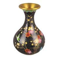 Old Chinese Black Cloisonne Enamel Vase w / Bird - Flowers
