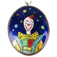Signed Harold Tishler Enamel on Sterling Silver Pendant Necklace Clown