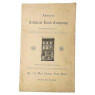 c1907 Catalog American Artificial Limb Company w/ Illustrations Prosthetics