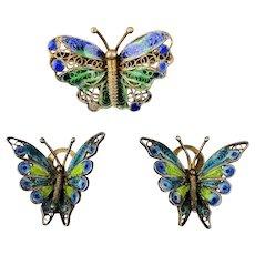 Enamel Butterfly Pin - Earrings Set Vermeil on 800 Silver Filigree