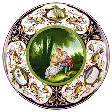 Hand Painted Italian Majolica Charger Plate C.A.C.F. Faenza by Boucher