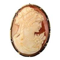 Carved Shell Cameo 900 Silver Pin Pendant w/ Pretty Pert Profile Face