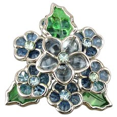Vintage CORO Flower Pin w/ Gripoix Poured Glass See-Thru Petals