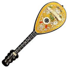 Italian Inlaid Wood Lute Mandolin Music Box - Sorrento