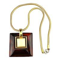 Modernist Crown Trifari Marbled Lucite Pendant Necklace