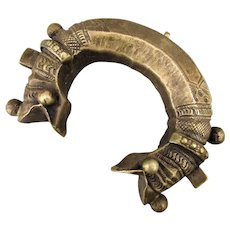 Old Indian Makara Heads Tribal Cuff Bracelet