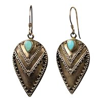 Sterling Silver Bali ~ V ~ Dangle Drop Earrings w/ Turquoise