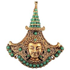 Vintage Siamese Princess Pendant Necklace w/ Faux Turquoise