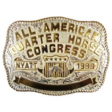 All American Quarter Horse Congress N.Y.A.T.T 1988 Belt Buckle