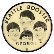 Rare Original 1964 Beatles Misspelled BEATTLE Booster Flicker Pin - Oops
