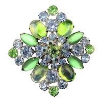 Minty Green Rhinestone AB Glass Crystal Pin Brooch