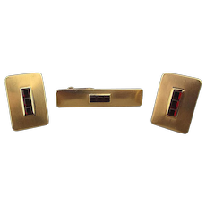 Dapper Gold-Filled Cufflinks Tie Clasp Set w/ Faux Ruby Stones
