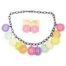 Vintage Plastic Button Charm Necklace w/ Post Earrings 1970s