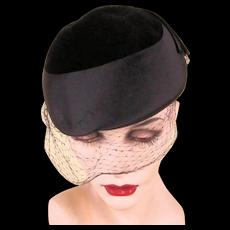 c1960 High Style Black Hat w/ Rhinestone Accent Opera Italy to Texas