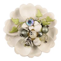 Big White Enamel Jeweled Flowers on Flower Pin