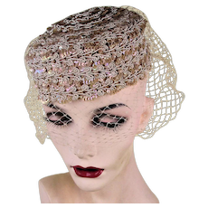 Vintage 1960s Pillbox Hat Coiled Satin Cord w/ Sequins - Net