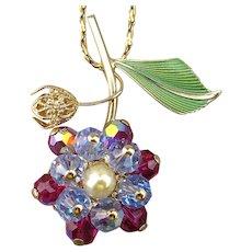 Signed HOBE Crystal Enamel Flower Pendant Necklace