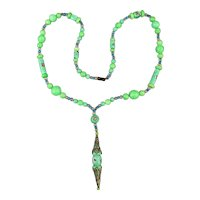 Art Deco Czech Glass Bead Necklace w/ Venetian Inlaid Cane Beads