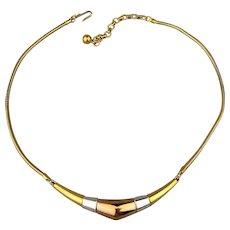 Modernist Trifari Sleek 3 Tone Necklace