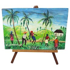 Miniature Haitian Painting Signed E. JOASSAINT - Ernst w/ Haiti Easel