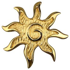 Signed Givenchy Paris New York Sun Brooch Pin