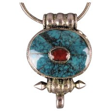Tibetan Sterling Silver Gau Prayer Box Pendant Necklace w/ Coral / Turquoise