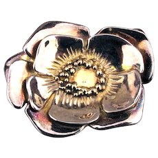 Artist Signed Big Sterling Silver Flower Pin Pendant