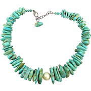Big Chunky Genuine Turquoise Nugget Necklace w/ Sterling Silver Clasp