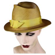 Vintage 1950s Frank Olive Super Fine Natural Straw Hat