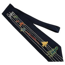 Vintage John Lennon FREDA PEEPLE Black Silk Necktie Tie