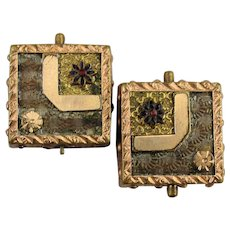 Victorian 1875 Gold-Filled Cufflinks Etched Textured Design