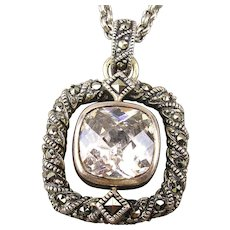 Judith Jack Sterling Silver Marcasite White Topaz Pendant Necklace