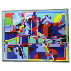 Jacques Cinquin Signed Numbered Silkscreen Print Composition Framed