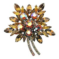 Great Big Rhinestone Flower Pin Amber w/ AB Stones
