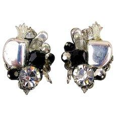 Signed Alice Caviness Jeweled Clip Earrings Rhinestones - Chrome - Glass