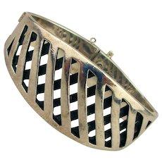 Taxco Modernist Sigi Pineda Sterling Silver Bracelet Hinged Cross Hatch