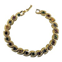 Slinky Gold-Tone Bracelet w/ Jewel Color Rhinestone Links