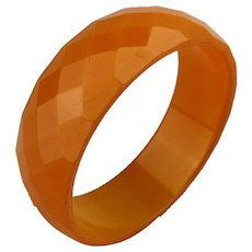 1930s Bakelite Multi Faceted Bangle Bracelet Apricot
