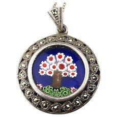 Sterling Silver Murano Glass Millefiori Pendant Necklace w/ Marcasite