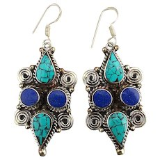 Tibetan Turquoise Inlay Lapis Sterling Silver Earrings Dangle