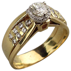 Estate 14K Gold Diamond Ring .64 Carat Halo Design