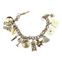Vintage Novelty Charm Bracelet Music Piano Candalabra Odd Charms