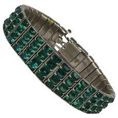 Art Deco Era 3 Row Green Crystal Rhinestone Bracelet