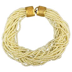 Carolee 20 Strand Faux Pearl Necklace Torsade w/ Great Clasp