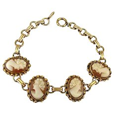 Gold-Filled Carved Shell Cameo Girls Bracelet